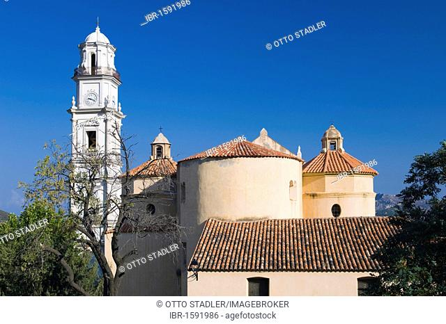 Church in the mountain village of Calenzana, Balagne, Corsica, France, Europe