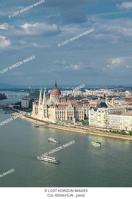 The Parliament and ferries on the Danube, Hungary, Budapest