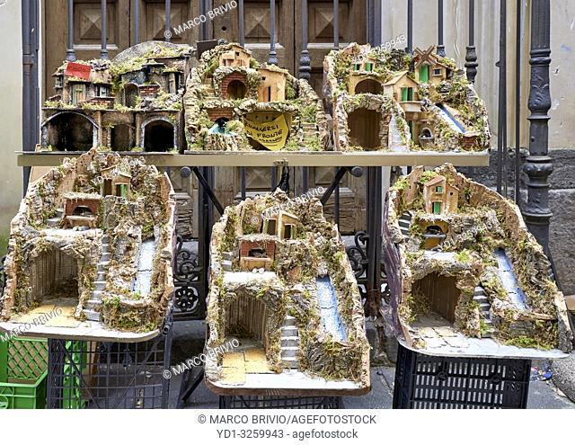 Naples Campania Italy. Hand crafted Christmas Nativity Scene in the artisan workshops of Via San Gregorio Armeno