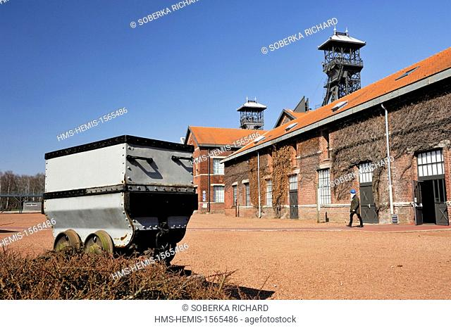France, Nord, Lewarde, Mining History Centre listed as World Heritage by UNESCO, wagonnet set out in the main courtyard