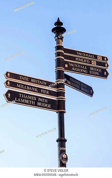 England, London, Westminster, Signpost
