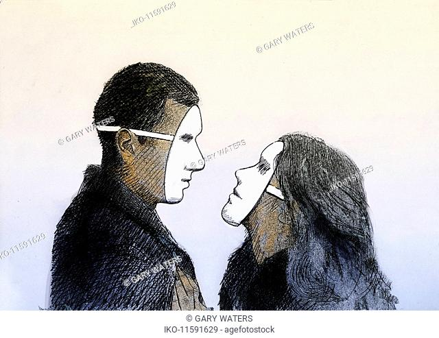 Man and woman looking at each other wearing masks