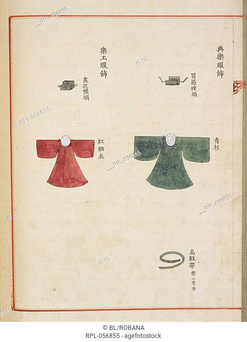 Korean court dress Page from a court manuscript showing robes worn by musicians at the 60th anniversary of the consummation in 1749 of the marriage of Lady...