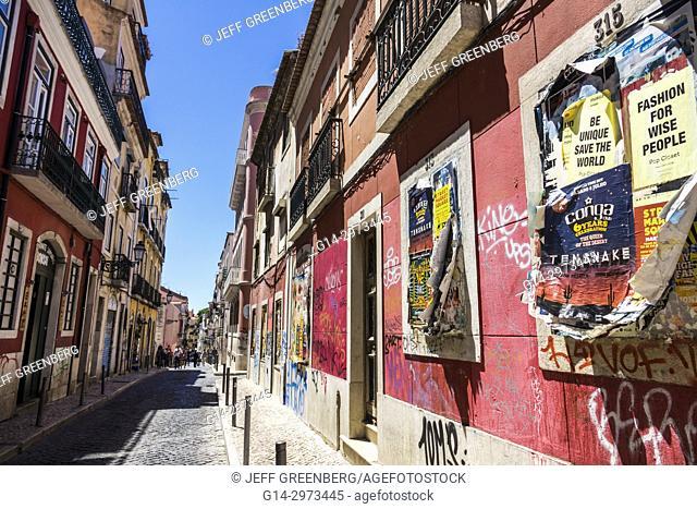 Portugal, Lisbon, Bairro Alto, historic district, Principe Real, Rua da Rosa, neighborhood, buildings, cobblestone street, graffitti, old posted flyers