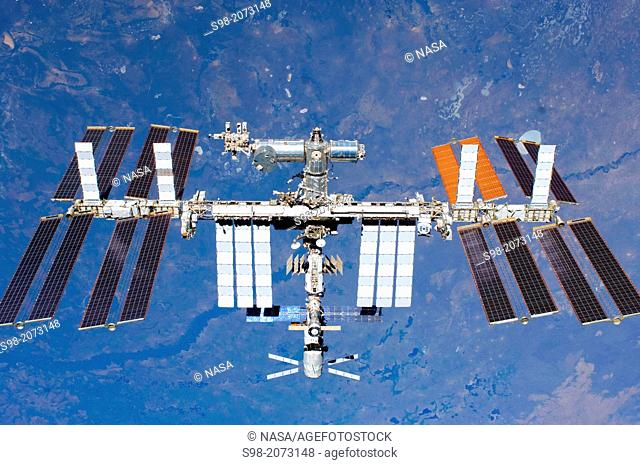 (29 May 2011) -- The International Space Station is featured in this image photographed by an STS-134 crew member on the space shuttle Endeavour after the...