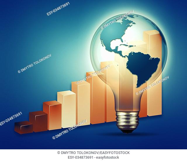 Power and industry abstract backgrounds with electrical bulb and chart