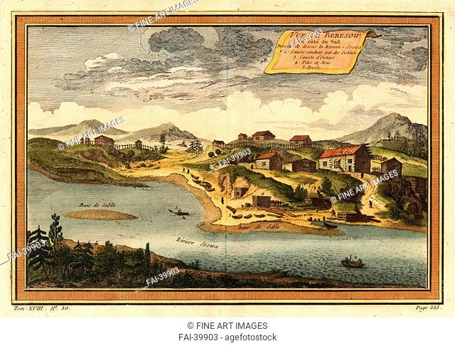 View of Beryozovo from the Sosva River by Bellin, Jacques Nicolas (1703-1772)/Copper engraving, watercolour/Cartography/1760/France/Private Collection/18,2x27