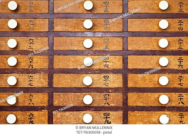 Full frame of prayer drawers