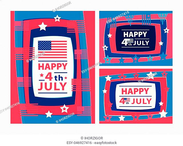 Happy 4th of July 3D abstract illustration with paper cut shapes