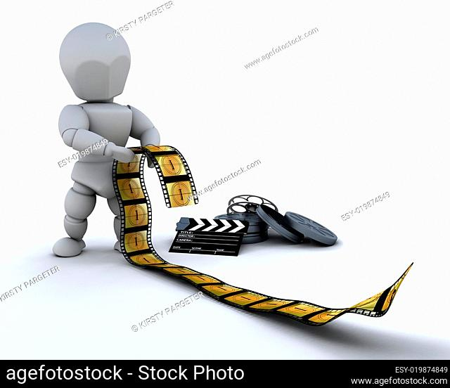 man with film clip and clapper board