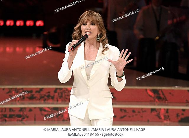 Milly Carlucci during the tv show Dancing with the stars, Rome, ITALY-07-04-2018