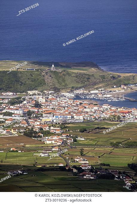 View towards Praia da Vitoria from Serra do Cume, Terceira Island, Azores, Portugal