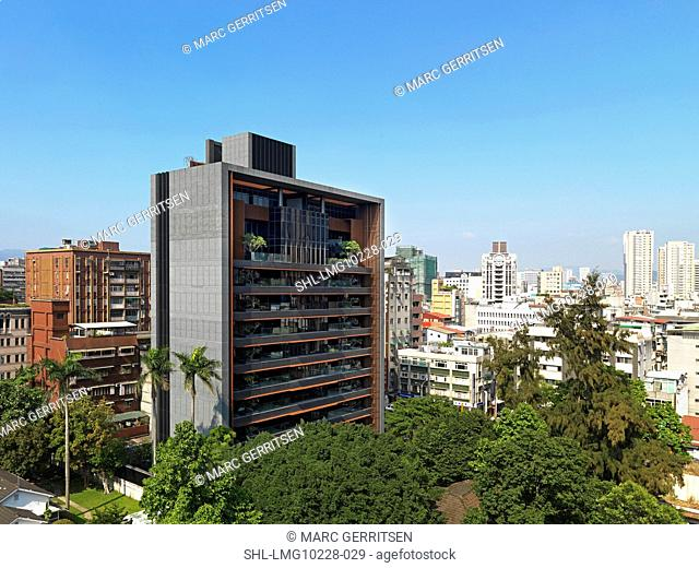 Exterior high rise apartment building