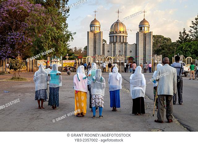 Ethiopian Christians Praying Outside St Gabriel's Church, Hawassa, Ethiopia