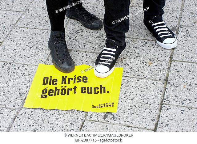 Sign Die Krise gehoert euch, German for The crisis is yours, demonstration by 30000 trade union members against the social policies of the Federal Government