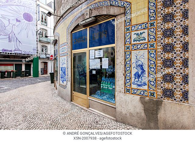 Cafe with Hand Painted Portuguese Ceramic Tile, Lisbon, Portugal, Europe