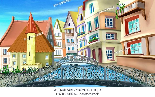 Digital painting of the bridges and streets of Paris in summer day