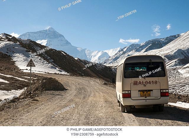 The road into Everest (Qomolangma) Base Camp, Tibet, China