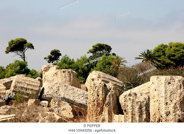 Italy, Europe, Sicily, Selinunte, temple, antiquity, archeology, Greek, columns, stones