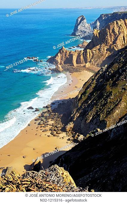 Cabo da Roca  Cliff and seascape at Cape da Roca  Lisbon district  Sintra coast  Portugal  Europe
