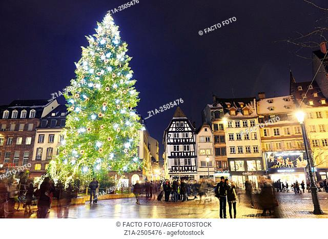 The great Christmas tree in Place Kleber at Christmastime. Europe's best Christmas market 2014. Strasbourg. Bas-Rhin. Alsace. France