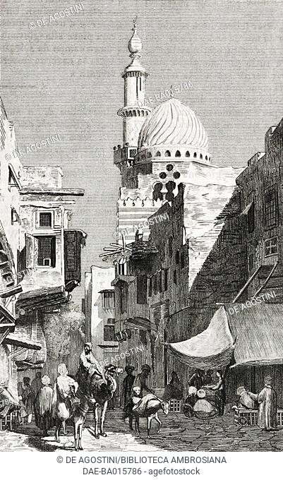 View of a Cairo street with the Grand Mosque rising in the background, Egypt, engraving from L'album, giornale letterario e di belle arti, June 7, 1845, Year 12