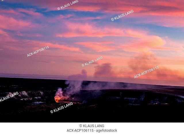 Halema'uma'u Crater of Kilauea Volcano in the evening, Island of Hawaii