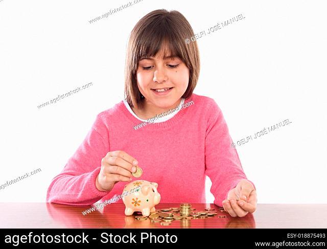 Girl with money box
