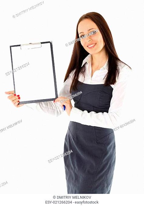 Businesswoman shows blank clipboard