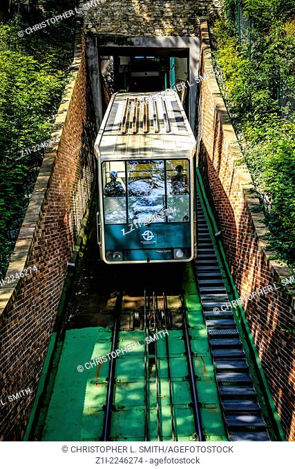 The Lanovkova Funicular railway in Prague