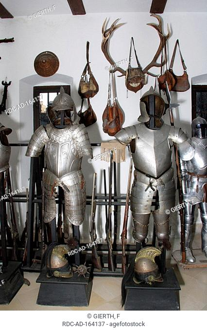 Suits of armour fortress Reichenstein Trechtingshausen Rhineland-Palatinate Germany armoury