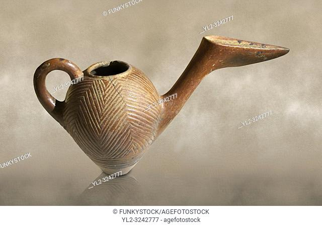Bronze Age Anatolian terra cotta side spouted pitcher with bill shaped end - 19th to 17th century BC - Kültepe Kanesh - Museum of Anatolian Civilisations