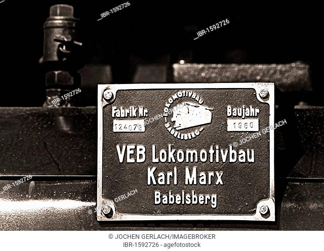 Production sign on a historic steam locomotive