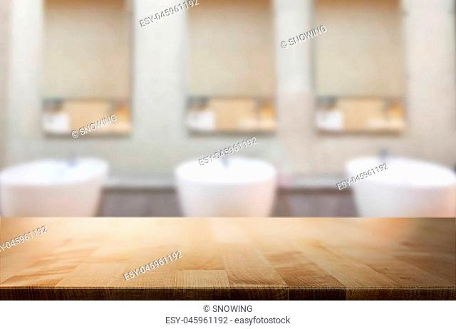 Selected focus empty brown wooden table for product display montage bathroom and desk