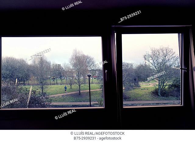 View of park through the window. Mile End Park, Mile End, London, England