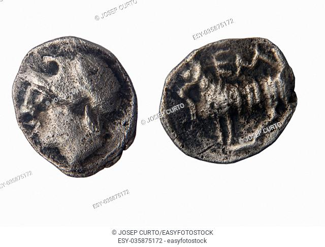 Currency mite the Greek city of Ampurias, Pp fourth century B. C. front: head. back: lamb