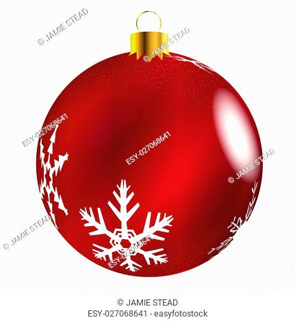 A glossy Red Christmas decoration with snowflake patterns isolatedon a white background