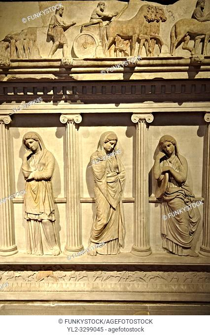 Sarcophagus of The Mourning Women, 4th cent. B. C Greek from the Royal Necropolis of Sidon , Chamber no I, Lebanon, Istanbul Archaeological Museum Inv
