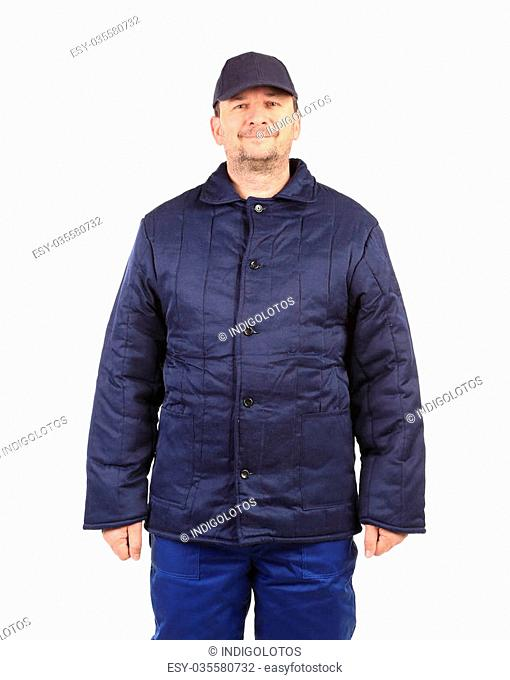 Worker in winter workwear. Isolated on a white background