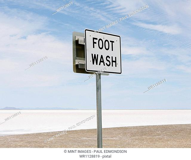An information sign, Foot Wash, at the edge of the Bonneville Salt Flats