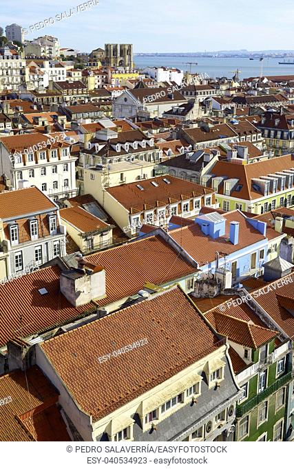 Aerial view of old town Lisbon, Portugal