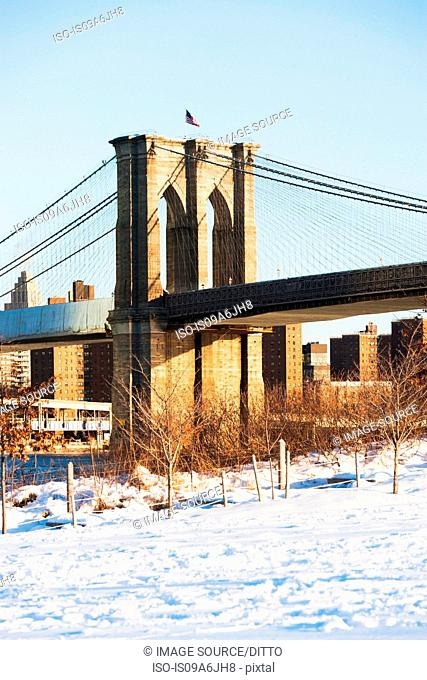 Brooklyn Bridge and snowy park