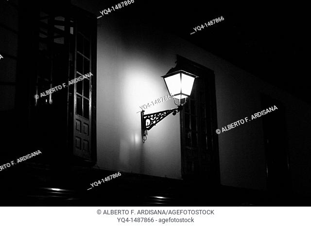 Lampposts in the arcades of the Fontan, Oviedo black and white photographs, Asturias, Spain