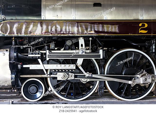 Abstract image of locomotive 2860, the Royal Hudson, at the Squamish Railway Museum