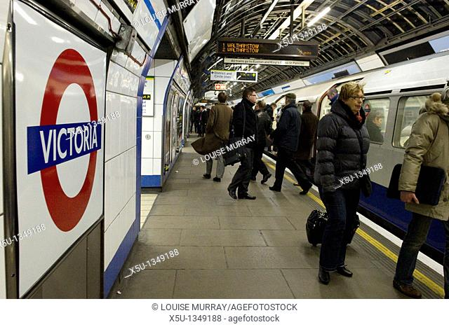 Victoria tube station is the busiest underground station on London's tube network serving 77 million passengers a year Victoria line train  Photographed under...