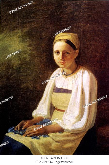 A Peasant Girl with cornflowers, 1820s. Found in the collection of the State Tretyakov Gallery, Moscow