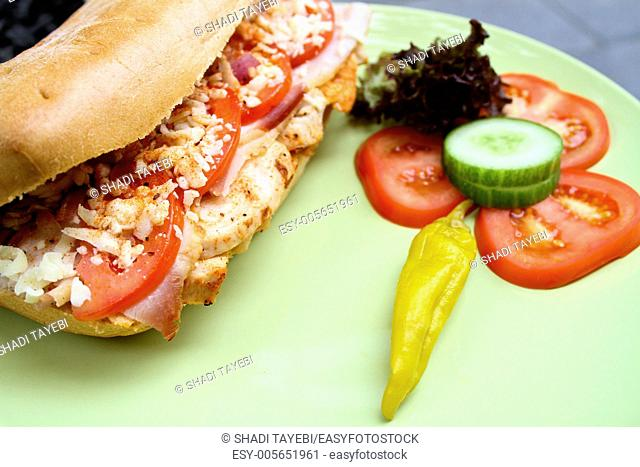 Fresh Sandwich with chicken,cucumber,tomato,cheese and bread