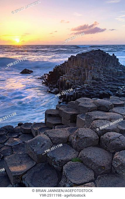 Sunset over the Giant's Causeway, County Antrim, Northern Ireland