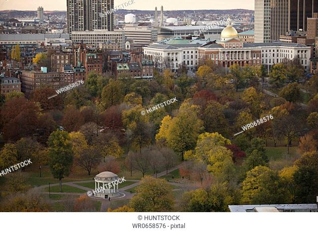 Gazebo in a park with buildings in the background, Parkman Bandstand, Boston Common, Massachusetts State Capitol, Beacon Hill, Boston, Massachusetts, USA