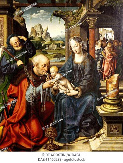 Adoration of the Magi, ca 1515, painting by Joos Van Cleve (1485-1540).  Naples, Museo Nazionale Di Capodimonte (Art Gallery)